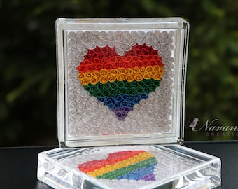 Rainbow Heart Coasters with Paper Quilling, Set of two Heart Coasters, Paper Anniversary, Valentines Day