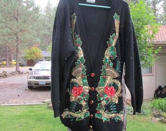 6e81a9af1 womens 1980s vintage Sweater Marisa Christina II size 3x Hong Kong Sequins Christmas  Ugly Cardigan