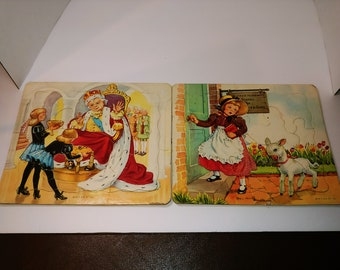 P /& M Co Nursery Rhyme Mary Had a Little Lamb vintage tray frame puzzle