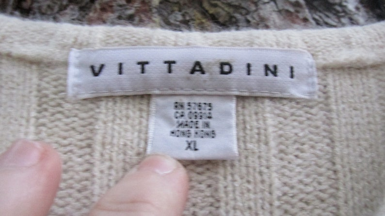 Vintage ivory and tan sweater Vittadini   Sweater Women/'s size XL New with tags Made in Hong Kong