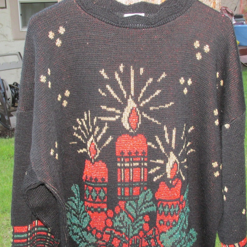 Vintage Womens  Christmas Holiday Time Sweater Candles Ugle Sweater Plus 22W