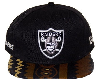 7e41bd30285 Oakland Raiders Snapback crown w Dashiki fabric