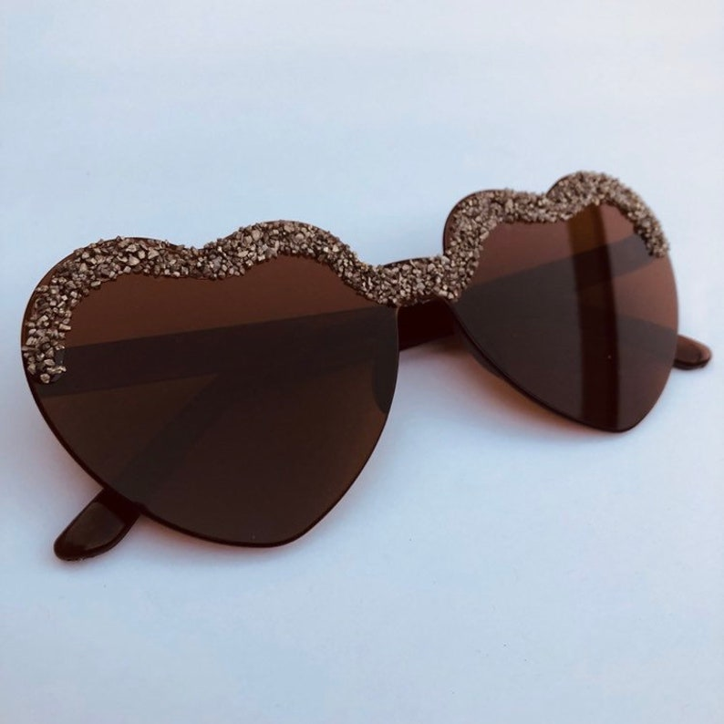 Brown Heart shape sunglasses with Pyrite healing crystals image 0