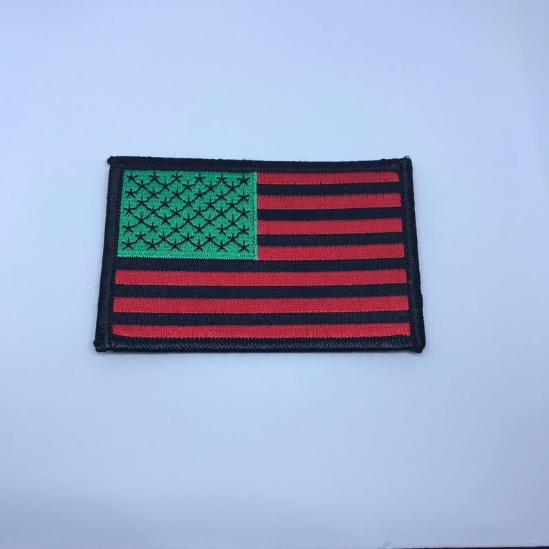 African American Flag iron on Patch Black RBG David Hammon image 0