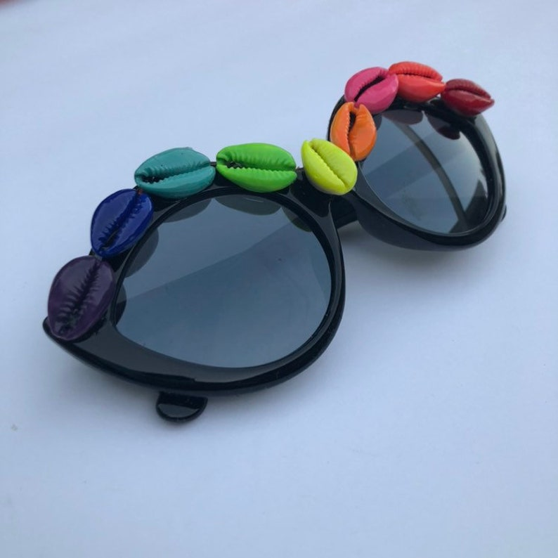 Cateye sunglasses with rainbow chakra pride handpainted cowrie image 0