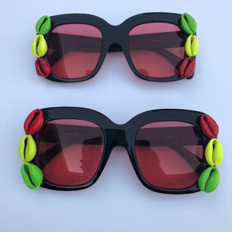 Rasta Cowrie shell oversize sunglasses image 0