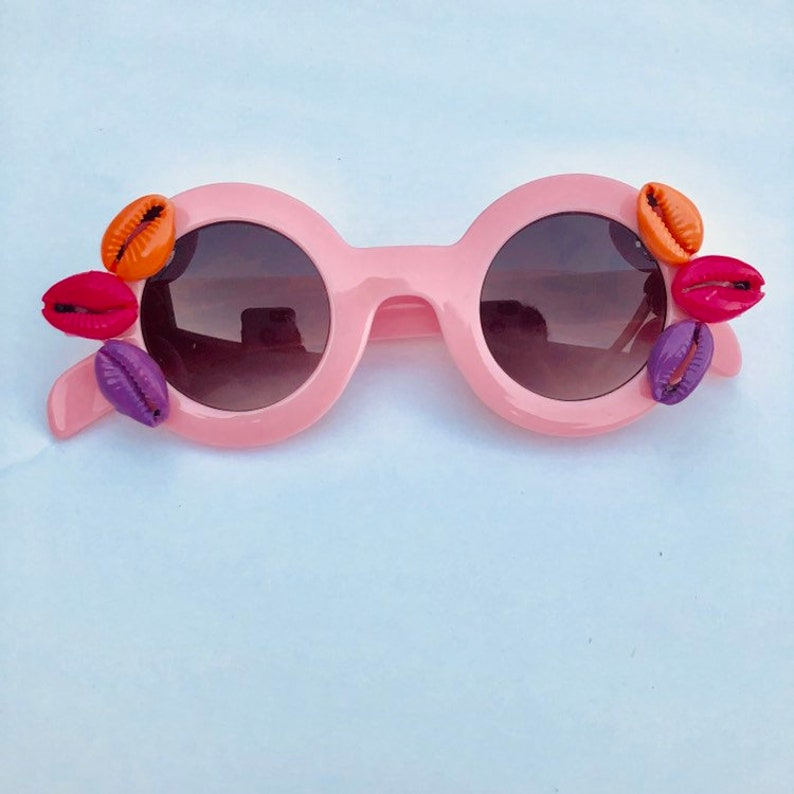 Warm & Colorful cowrie shell sunnies hand painted shells on image 0