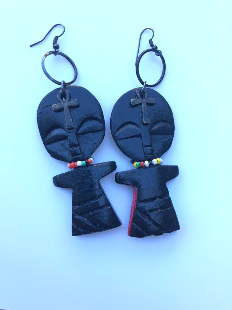 Carved Wooden fertility earrings image 0