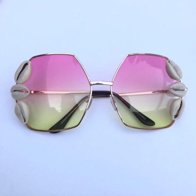 Hexagon shape sunglasses with cowrie shells image 0