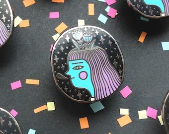 Bloom Head, Cosmic Vibes, Purple, Enamel Pin, Lapel, Jewellery