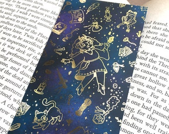 Gold Foil Bookmark - Witches, Magic Spells, Fantasy, Occult, Crystals, Tarot