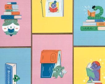 We Love Books! - 6 x Illustrated Art Postcards