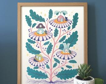 Plant House Print, Risograph, Illustration