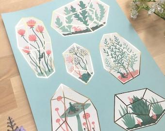 Gold Foil Terrarium Print: Tiny Terrariums, Personal Spaces - Art Print, Gold Foil, Plants Illustration, Home Decor