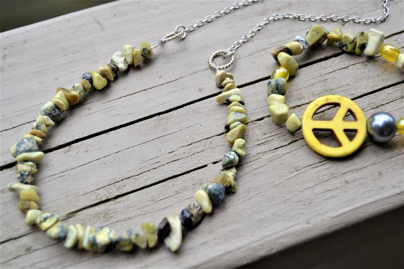YELLOW PEACE SIGN Necklace Bracelet Set Yellow Turquoise Peace Bracelet Hippie Jewelry