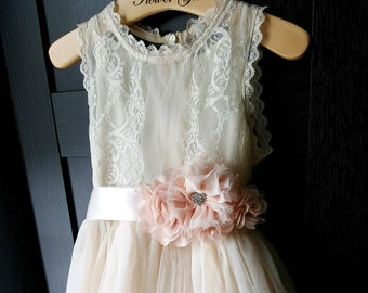 Flower girl dress champagne with blush sash, flower girl dress lace, blush flower girl dress, girls dresses, flower girl dress blush