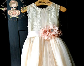 c21e01dd2d2 Flower girl dress champagne with blush sash