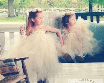 flower girl dress, flower girl dresses, ivory flower girl dress, champagne tutu dress, child dress, baby dress, birthday dress
