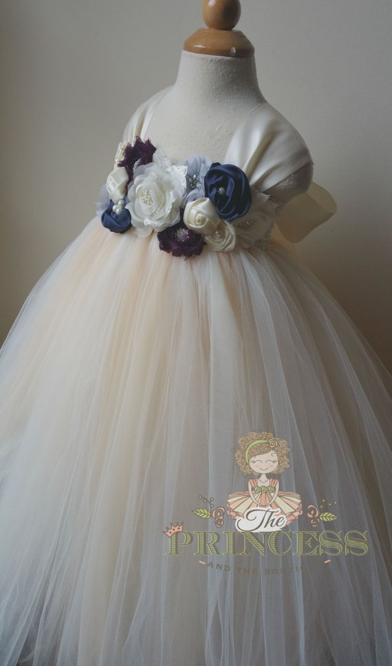 b520dfd472a ivory and champagne tutu dress with navy eggplant gray and