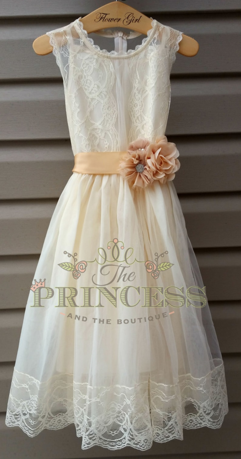 57d70054fea Ivory And Champagne Lace Flower Girl Dress - Gomes Weine AG