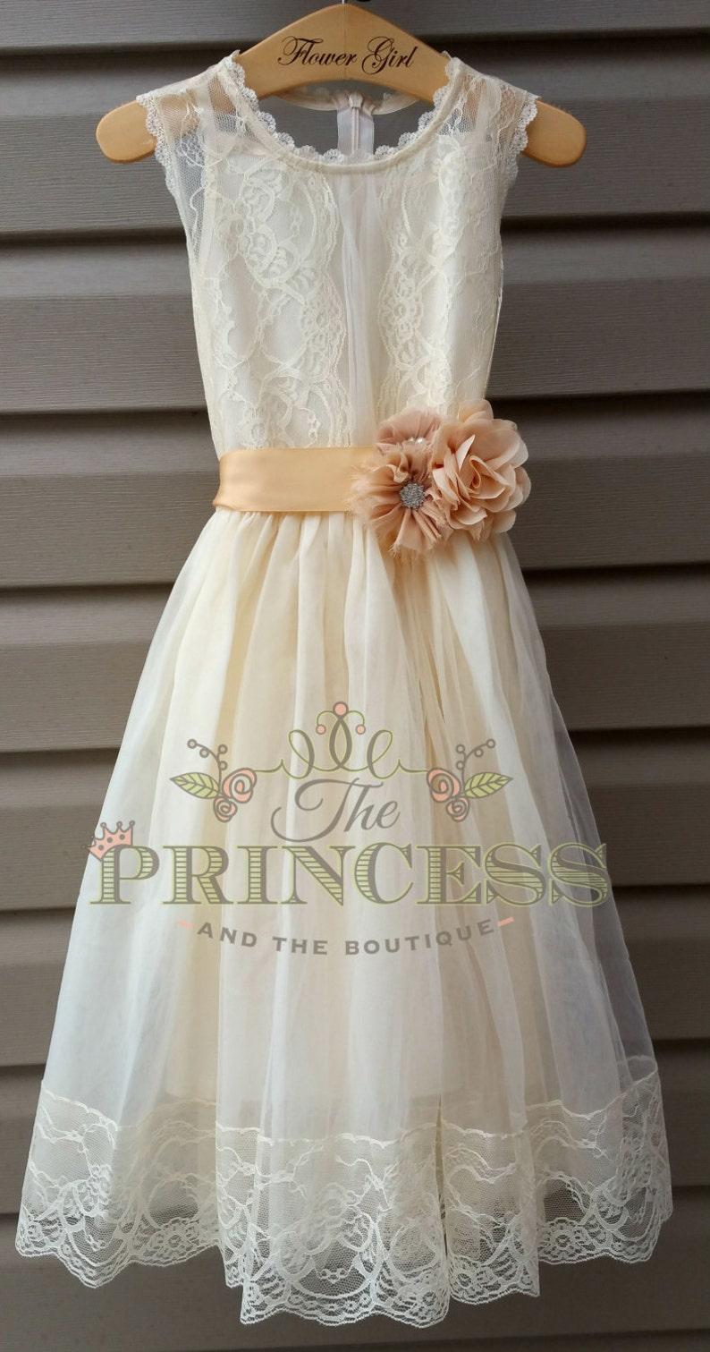 67bc4aad3d7 Flower girl dress flower girl dress champagne flower girl