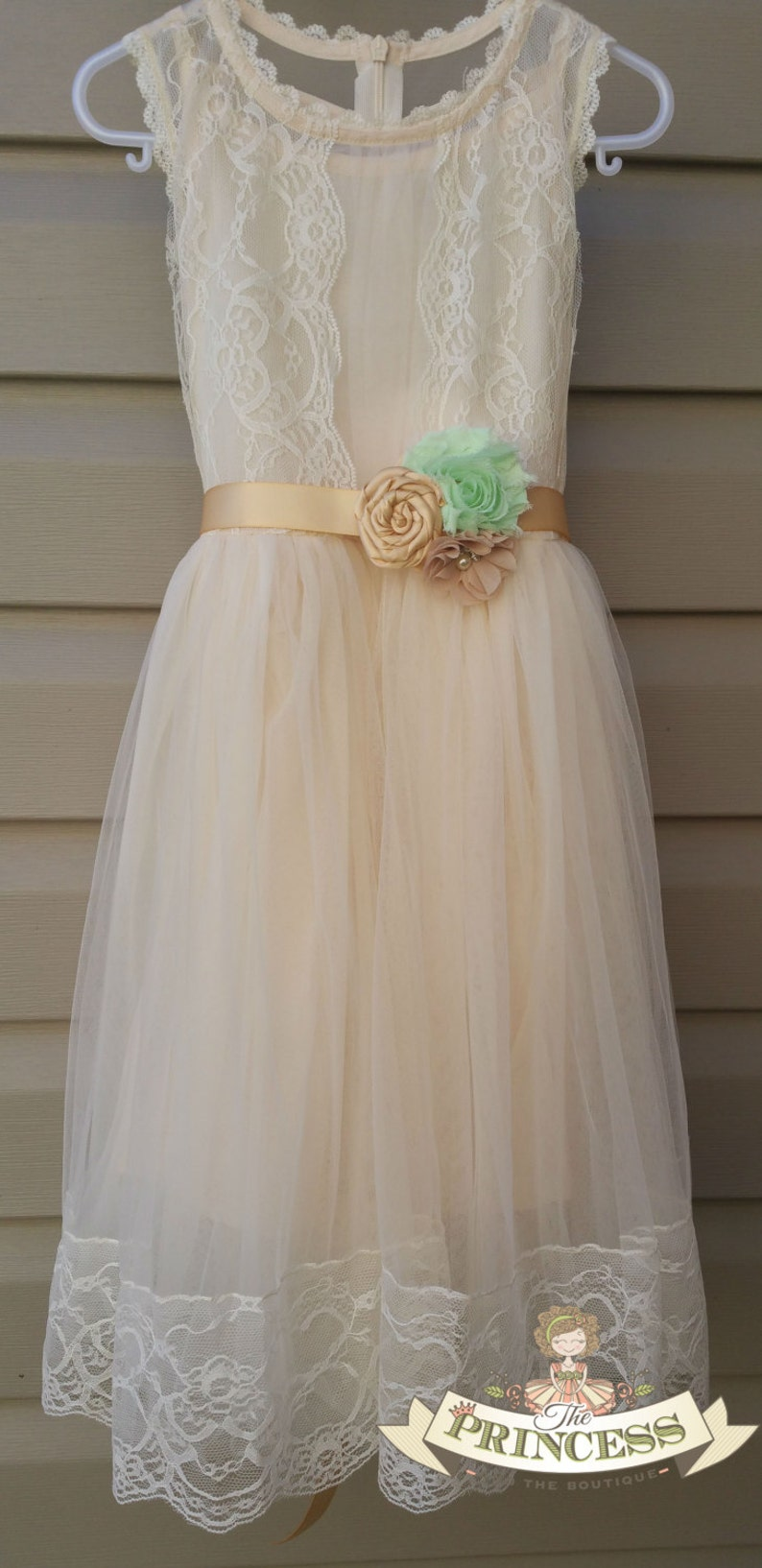 15849a0a783 Champagne flower girl dress with sash flower girl dress