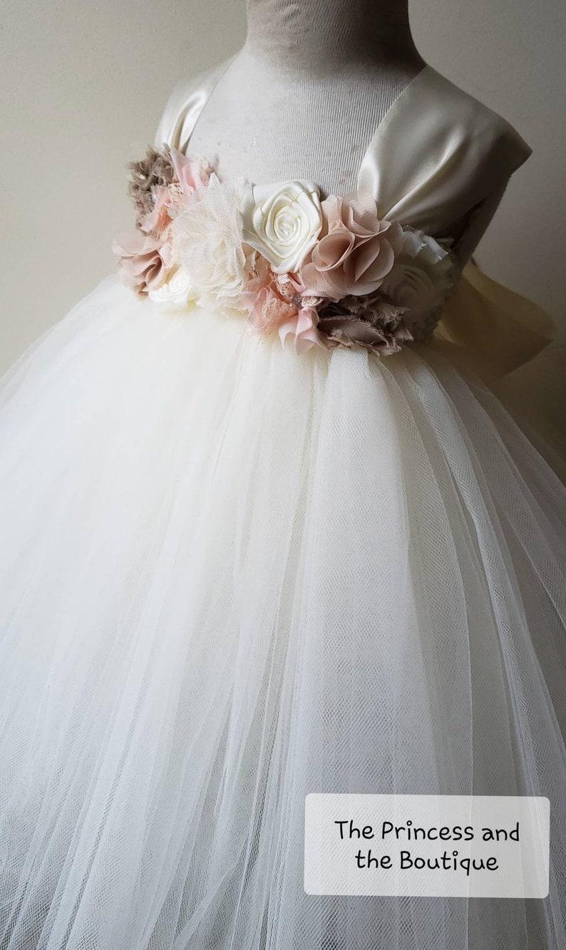 4a36540831b78 Ivory and blush flower girl dress flower girl dresses ivory | Etsy
