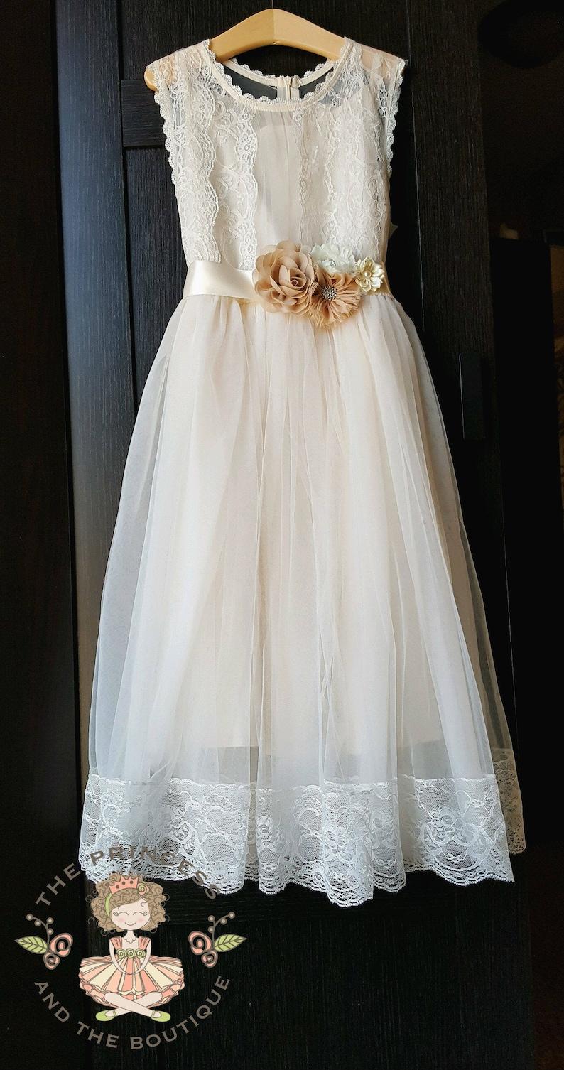812c6e5e Champagne flower girl dress with sash flower girl dress | Etsy