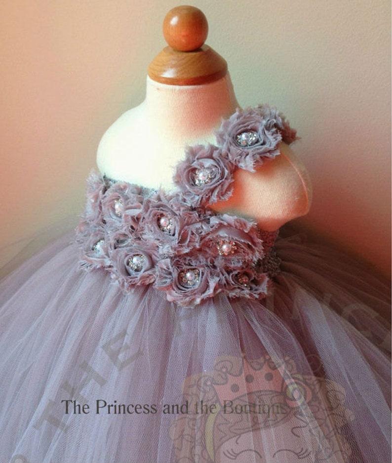 81511561b51 Flower girl dress gray flower girl dress silver flower girl