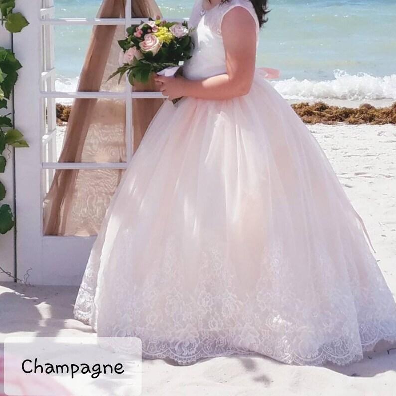 floor length flower girl dress flower girl dress lace ball gown Blush flower girl dress champagne flower girl dress