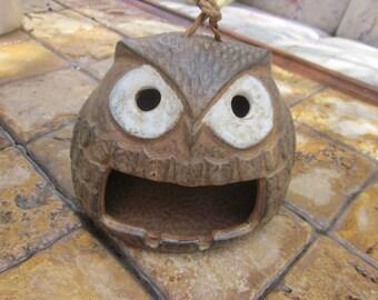 hanging owl ashtray,,funny owl, vintage