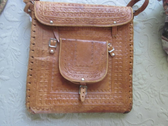 """tooled leather messenger bag,,unusual, 11"""" by 12""""t"""