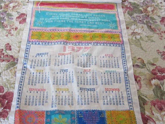 1977 Calendar Towel Linen Henry Van Dyke Saying Made To Hang Etsy