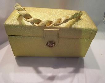 vintage ingber gold lame box purse excellent vintage handbag jeweled clasp