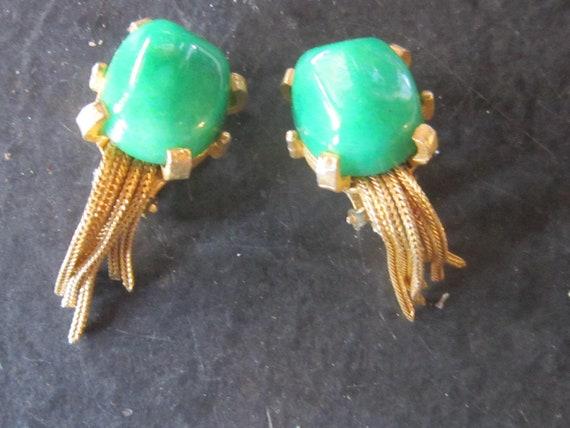 signed kramer green stone earrings clips