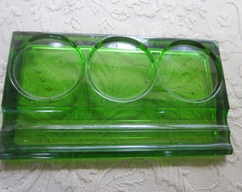emerald green glass desk organizer, pen holder, desk accessories