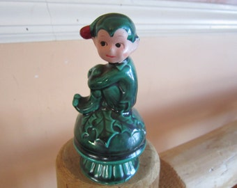 christmas elf, vintage inarco christmas elf, holly, holiday, elves