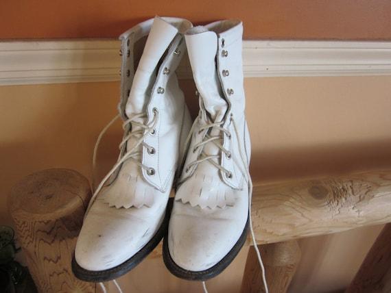 justin cowboy boots, wmns sz 6 1/2, white boots, l