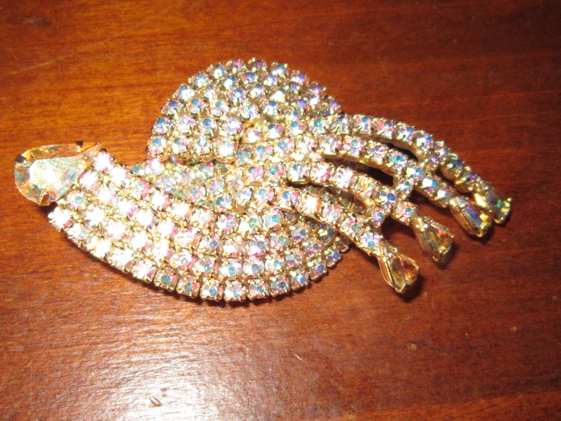 huge rhinestone pin brooch 3 18 by 1 34 prong set stone AB stones