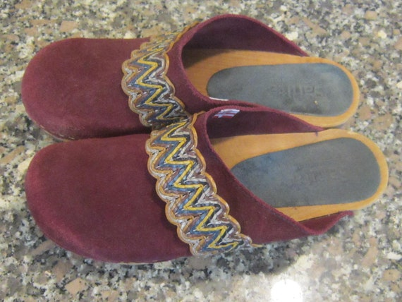vintage danish clogs by sanita sz 38 wood sole clo