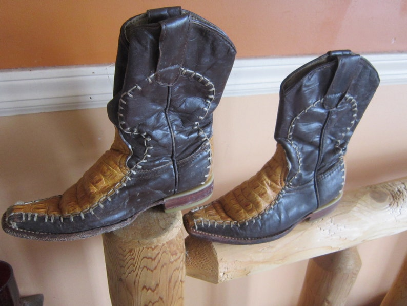 vintage childrens cowboy boots gator most unusual all leather image 0