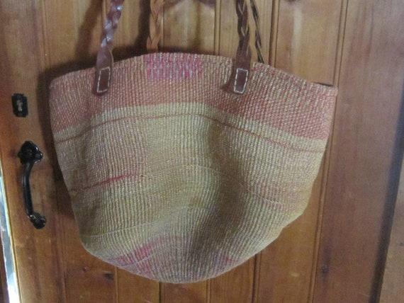 huge sisal tote market bag vintage tote braided le