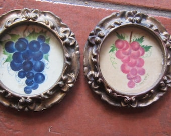 two antique theorem paintings grapes round frames signed G. Werner