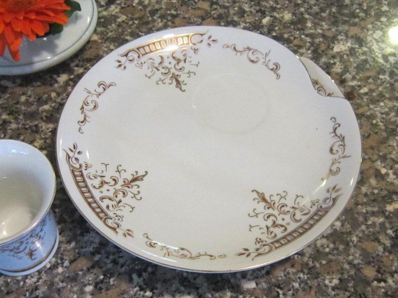 renaissance luncheon set four plates four cups gold gilt lovely vintage luncheon set