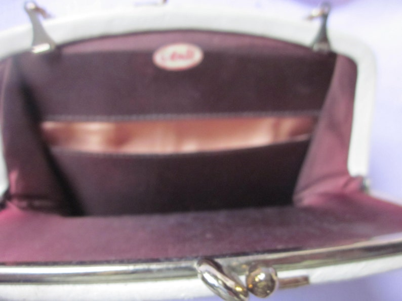 off white leather clutch,use with chain handle or as clutch,,by ande