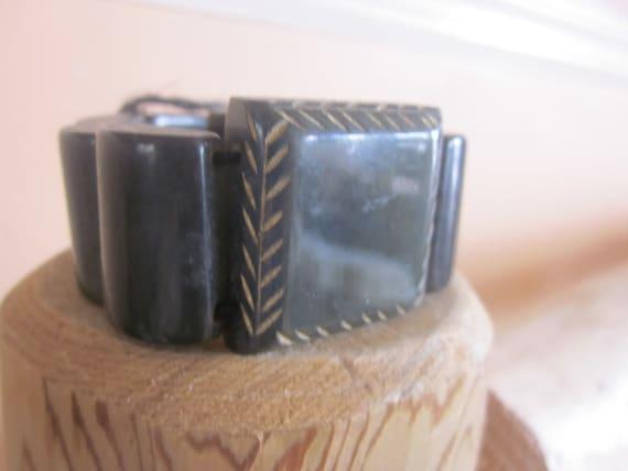 dk green bakelite bracelet, stretch link bracelet… - image 2