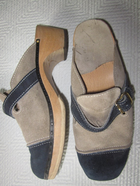 VINTAGE...clogs austria, wood sole clogs, two colo