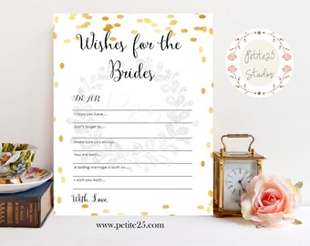 wishes for the brides wedding shower game bridal shower game same sex wedding same sex marriage lgbt gold instant download