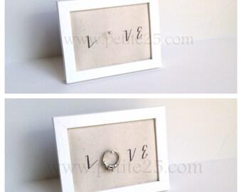 Wedding ring holder rectangle WHITE ring holder: engagement ring holder, bridal shower gift, for her, ring stand
