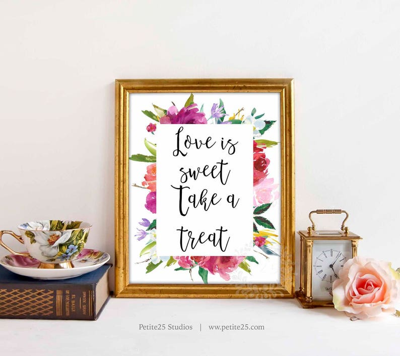 Love is Sweet sign take a treat sign candy bar sign bridal image 0